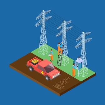 Electricista ciudad servicios composición isométrica