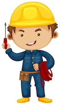 Electricista con destornillador y casco