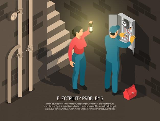 Electricista isométrica personas con composición de sótano interior caracteres humanos de trabajador y anfitrión con ilustración de vector de texto