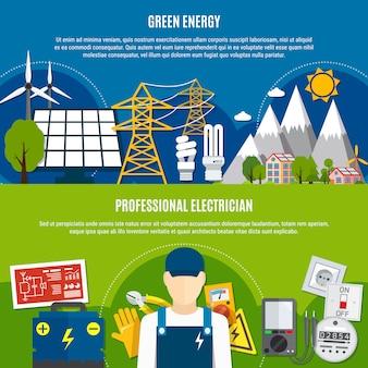 Electricista y pancartas planas de energía limpia