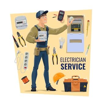Electricista trabajador, herramientas y suministros