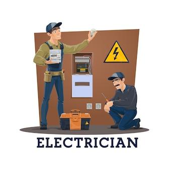 Electricistas con herramientas, trabajadores de servicios eléctricos.