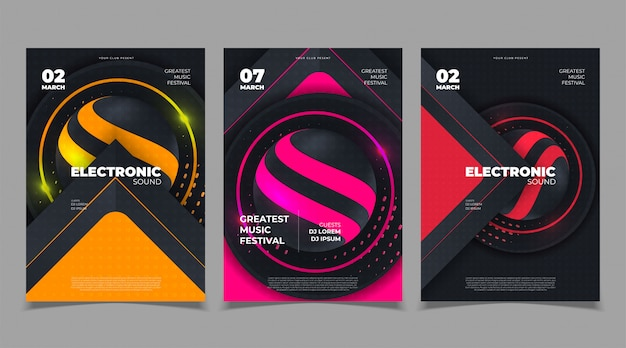 Electro party music flyer template invitation