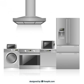 Electrodomésticos de cocina en diseño plano