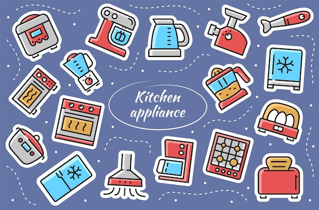 Electrodomésticos de cocina - juego de pegatinas. colección de cocina para el hogar. ilustración vectorial.