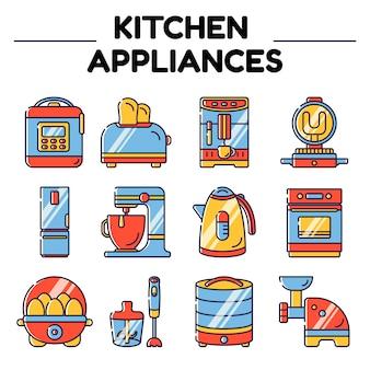 Electrodomésticos de cocina objetos aislados.