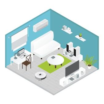 Electrodomésticos concepto de sala de estar isométrica con reparaciones realizadas todo está listo para vivir
