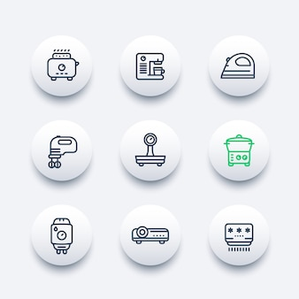 Electrodomésticos, conjunto de iconos de línea de electrónica de consumo