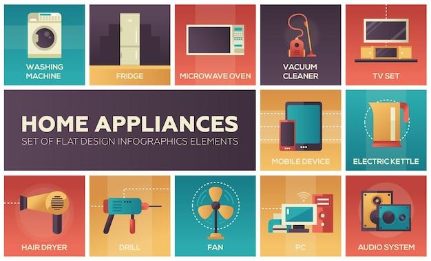Electrodomésticos - conjunto de iconos de moderno diseño plano.