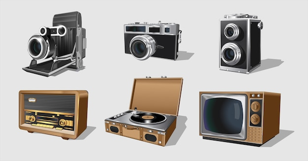 Electrodomésticos retro, conjunto de maquinaria vintage. colección con radiotor vintage retro.