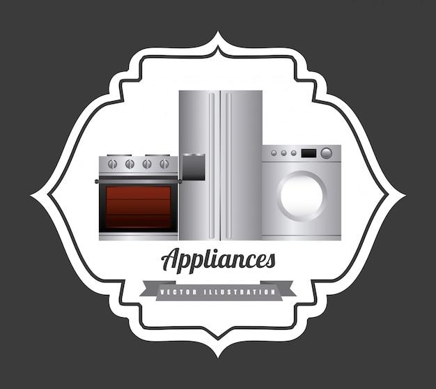 Electrodomésticos sobre fondo gris