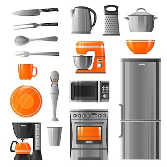 Electrodomésticos y utensilios de cocina conjunto de iconos
