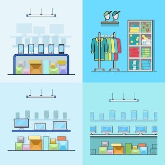 Electrónica, teléfono inteligente, computadora portátil, tecnología, alta tecnología, tienda, boutique, ropa, tienda, interior, interior, conjunto. iconos de estilo plano de contorno de trazo lineal. colección de iconos de color.