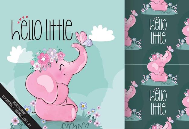 Elefante bebé animal lindo con patrones sin fisuras de mariposa
