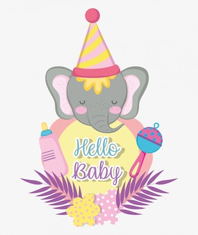 Elefante con biberón para baby shower.