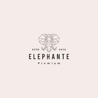 Elefante cabeza logo línea geométrica vector illustration