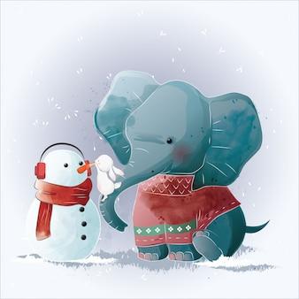 Elefante y conejito construyendo un muñeco de nieve
