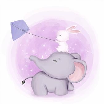 Elefante y conejo jugando cometa