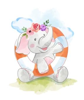 Elefante de dibujos animados e ilusión de anillo de natación