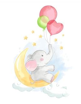 Elefante de dibujos animados con globo en la luna