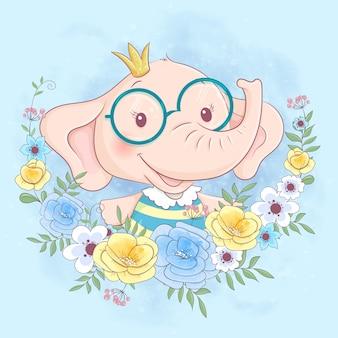 Elefante de dibujos animados lindo en una corona de flores azules y amarillas
