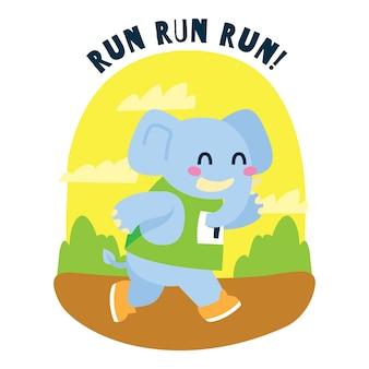 Elefante de dibujos animados lindo corriendo un maratón en la jungla