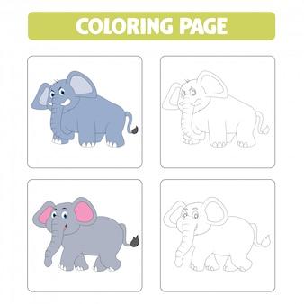 Elefante de dibujos animados lindo, libro para colorear