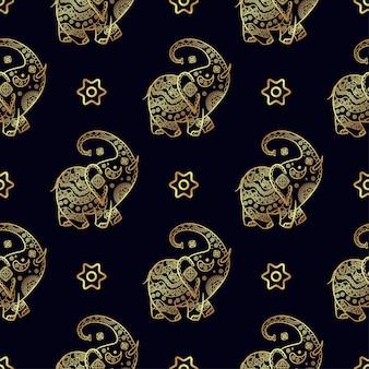Elefante dorado de patrones sin fisuras.