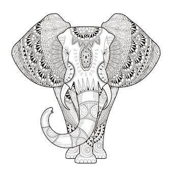 Elefante elegante página para colorear en un estilo exquisito