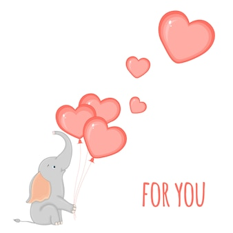 Elefante con globos en forma de corazones.