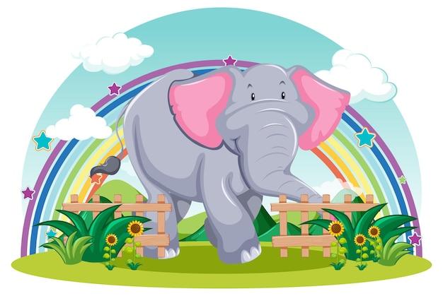Elefante en el jardín con arco iris sobre fondo blanco.