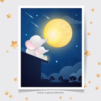 Elefante lindo doodle con ilustración acuarela