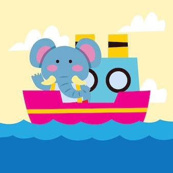 Elefante lindo de la historieta que viaja en barco de cruceros
