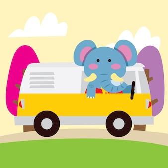 Elefante lindo de la historieta que viaja en coche
