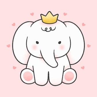 Elefante lindo llevar corona estilo dibujado a mano de dibujos animados