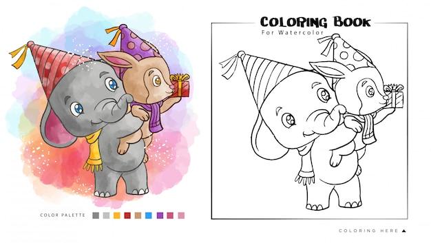 Elefante lindo llevar un mapache ir a la fiesta de cumpleaños. ilustración de dibujos animados para libro de colorear de acuarela