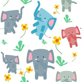 El elefante lindo del modelo inconsútil come la hierba y la flor