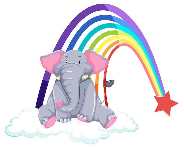 Un elefante en la nube con arco iris sobre fondo blanco.