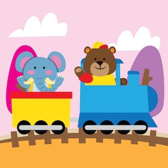 Elefante y oso de dibujos animados lindo que viajan en tren