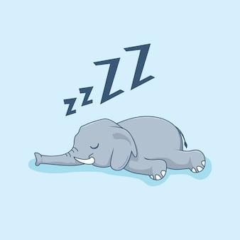 Elefante perezoso dibujos animados animales dormir