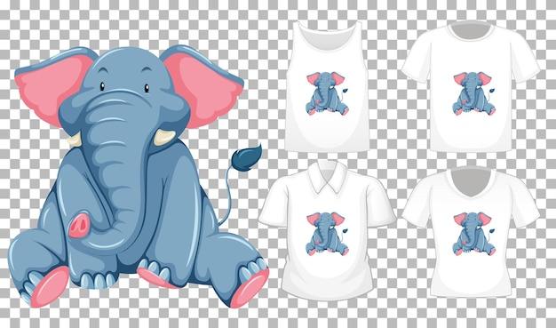 Elefante en posición sentada personaje de dibujos animados con muchos tipos de camisas sobre fondo transparente