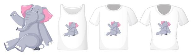Elefante en posición sentada personaje de dibujos animados con muchos tipos de camisas