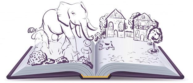 Elefante y pug historia. libro abierto de fábula de ilustración