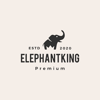 Elefante rey corona hipster vintage logo icono ilustración