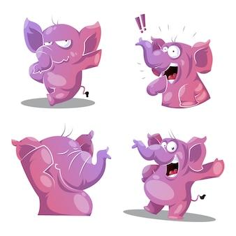 Elefante rosa en cuatro poses diferentes