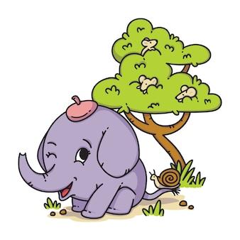Elefante en un sombrero con caracol en la cola y el ratón en un árbol. personaje animal de dibujos animados.