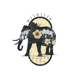 Elefante en vector de emblema de doble exposición para su diseño
