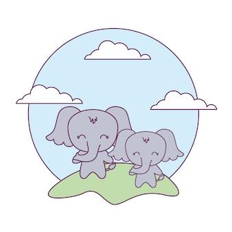 Elefantes lindos animales en el paisaje