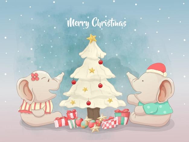 Elefantes pareja celebran la navidad