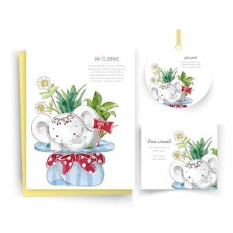 Elefantes en tarjeta floral en estilo doodle de acuarela.